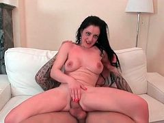 Long haired beauty strips nude for great sex
