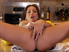 CANDICE IN A MAIDS OUTFIT PLAYING WITH HER FAVORITE DILDO