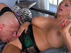 Karen is a horny milf, who loves to have a dick. Watch this big busted mommy take Christian's dick in her mouth and make it hard. Christian love this slut too and takes her big boobies in her mouth, and sucks them hard. When he is done with her knockers, he goes down on her amazing pussy and licks it no end, before shoving his penis in her hole.