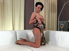 With juicy jugs and trimmed muff takes meat stick in the bottom as if her life depends on it