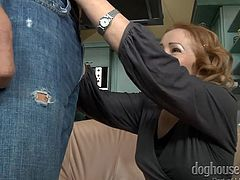 Horny Mature lady is having a young hard cock and taking it out for a ride. But, before doing that, she is taking care of it, by letting it in between her sexy lips. Having her expert blowjob, guy gets harder and starts banging her pussy from behind, besides riding on him.