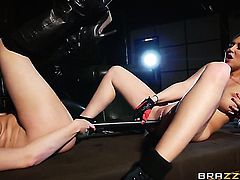 Lexi Lowe with big jugs plays with Danielle Mayes jugs before she touches her twat