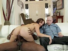 From the very moment the door bell rang, slutty Kayla got really excited. The horny bitch offered a really warm welcome to her guest, inviting him to make himself comfortable on the couch. The busty woman undressed right away shamelessly and began to suck cock in front of the bald guy. See her riding dick...