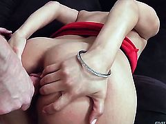 Latina swallows Mark Woods stiff love stick after booty fucking