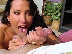Lustiness can be read in hot Lezley's hazel eyes. Click to watch the attractive milf seducing her partner with her tigress movements full of sensuality. The busty brunette lady succeeds in turning on the guy with her versed skills, which would define a perfect blowjob. Don't miss the exciting details!
