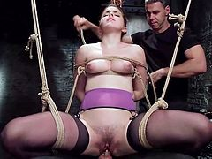 A fierce executor thought to help slutty Amarna accommodate in the basement of the Armory, the kinkiest place ever. Click to watch the red-haired babe tied up in a strong rope bondage, while a guy's cock gets stuffed in her tight peachy pussy. Don't miss the details and relax!