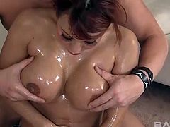 Completely oiled up Ava Devine being pleasured fast and deep