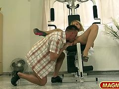 Hot blonde gets a hardcore cock riding workout in the gym.