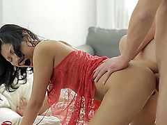 Skinny exotic cutie Veiki in see through red dress gets her tight pussy and tiny asshole fucked from behind. She gets her young anal hole stretched in doggy position on the bed.