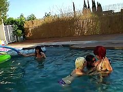 Adrianna Nicole, Christian XXX, Foxxy, Kimber James, Mandy Mitchell, Morgan Bailey, Tameka, Cherry Torn, Eva Lin and Danni Daniels are going to bang each other hard at a pool party.