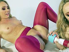 Do you like girl on girl action? Two lesbians get really horny, especially when they're so generous with using sex toys, such as vibrators and strap on, and anal is included. Click to watch the blonde-haired ladies enjoying to have fun together. Don't miss the exciting details!