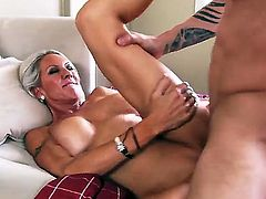 Hot bodied slim MILF Emma Starr is fuck hungry and makes her her sex fantasies come true with Richie Black. Leggy woman with big tits gets her pink cunt banged hard in many positions.
