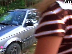 These teen sluts decided to go into the woods for some camping. They then noticed how dirty their car is, took off clothes and started washing it in a real seductive way.
