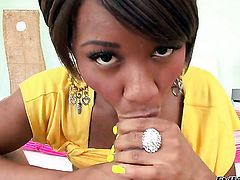 Imani Rose keeps her legs apart to be rammed over and over again in interracial action