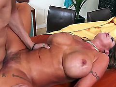Housewife porn with a busty babe who seduces her sons best friend. He places her on the table and stuffs her vagina with his pulsating cock