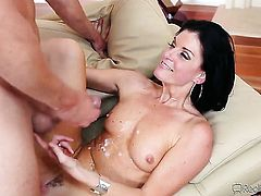 India Summer has cum on her tits
