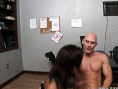 Madelyn Monroe has fire in her eyes while eating Johnny Sinss rock solid worm