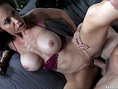With gigantic knockers takes Johnny Sinss cum loaded ram rod in her asshole