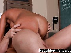 Evan Stone uses his hard boner to bring With huge knockers and trimmed beaver to the edge of nirvana