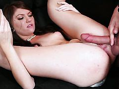 Cassandra Nix with small breasts and clean snatch lets man put his love wand in her mouth