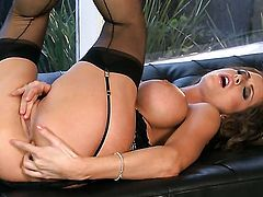 Emily Addison with giant hooters and shaved beaver groans in anal ecstasy
