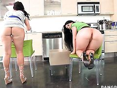 Ava Rose with big butt and Luscious Lopez are lesbian love birds that do it with desire