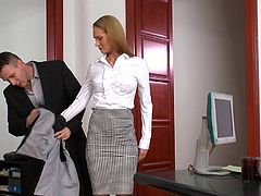 Visit official DP Fanatics's HomepageBlonde office slut takes down her panties for two guys and gets fucking with them in a wild threesome porn hardcore