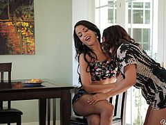 Layla and Keisha are good friends, but they never really took their relationship to the next level. But it is obvious, that Layla is more than happy to do that. She touches and caresses Keisha, when she drops by. She even takes her hard nipples in her mouth, to show how tantalising it can be. They kiss and then have some hardcore lesbian sex.