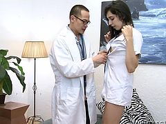 Roxxxy Thorns is a hottie brunette, with a nice slim body, firm small tits, tight bubble butt and a hard big dick. Horny doctor Eric, loves everything about this dazzling tranny nurse! Watch how this horny dude checks out her butt and boobs, before starts sucking the ladyboy's hard cock!
