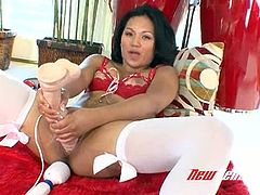 Curvy Asian beauty Lana Violet dildo fucks herself greedily
