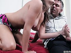 With big melons moans while sucking Mick Blues sausage harder and harder