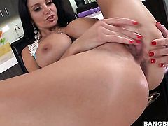 Ava Addams with juicy ass cant resist the desire to take guys stiff schlong in her hands