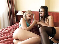 Nataly Von and Eufrat Mai strips and then fondle each other