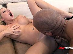 Flexible busty blondie in heels Shawna Lenee gets pussy licked and sucks BBC