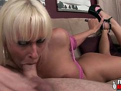 Blonde grabs her heels and sucks a dick like a slut