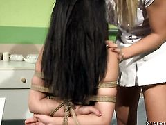 Blonde gets her wet spot attacked by lesbian Nikky Thornes tongue