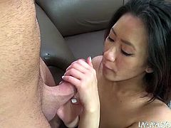 Sex hungry Asian bitch takes on white tasty penis with pleasure