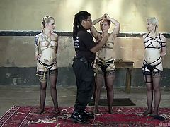 In this master class of Kink University as an example, you can learn all the intricacies of professional rope bondage. Ella, Jeze & Elyria obediently waiting in line, to get into the hands of professional and powerful Murphy Blue, a legend of kinky bondage. Naked, defenseless, tied & hanging from the ceiling, they nevertheless satisfied all event.