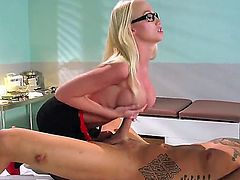 Madison Scott is hottie wearing glasses while she is sucking off a guy and then gets right on top of that cock and starts riding it as if it was a pony.
