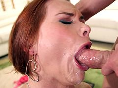 Face fucking a redhead whore and jizzing in her mouth