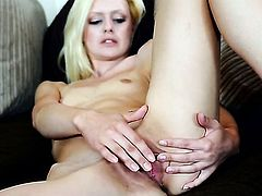 Jessi Green with tiny breasts and hairless twat poses playfully before masturbating