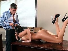 Alektra Blue is a real dirty slutty girl that is going to get banged on the desk which she uses explicitly for work. Little do her coworkers know this is her work.