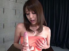Super sexy Asian babe with juicy boobs Akari Minamino fucks her pussy with suction cum dildo