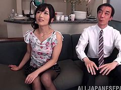Calling in an Asian slut in their office to get a handjob