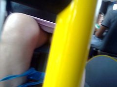 Bus hidden cam with nice MILF