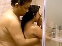 Bootylicious chubby brunette Desi wifey provides her hubby with BJ in shower