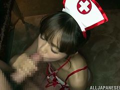 This naughty Japanese slut sucks on her man'd hard cock, to make him feel good. The nurse will take care of him. She licks his shaft and plays with his head. Before long he is ready to cum, and he shoots thick lines of spunk all over her face and body. She is completely covered in sex goo.