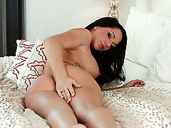 Destiny Dixon with gigantic melons and trimmed beaver gives pleasure to herself with dildo