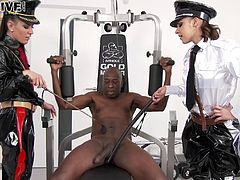 Uniform-clad slut with a sexy body enjoying a hardcore interracial threesome