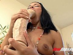Lusty raven haired chick Danica Dillon rides monstrous fake cock greedily
